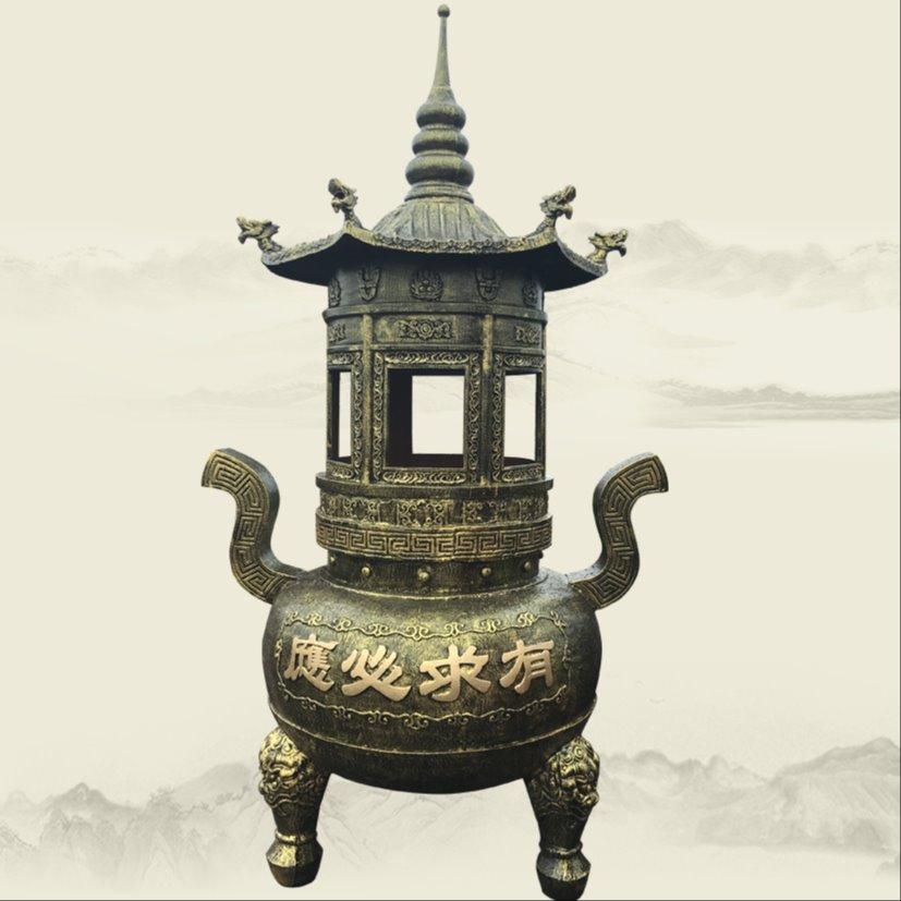 寺庙大殿门前摆其间含义不明而喻设宝鼎 大雄宝殿仿古香炉宝鼎报价
